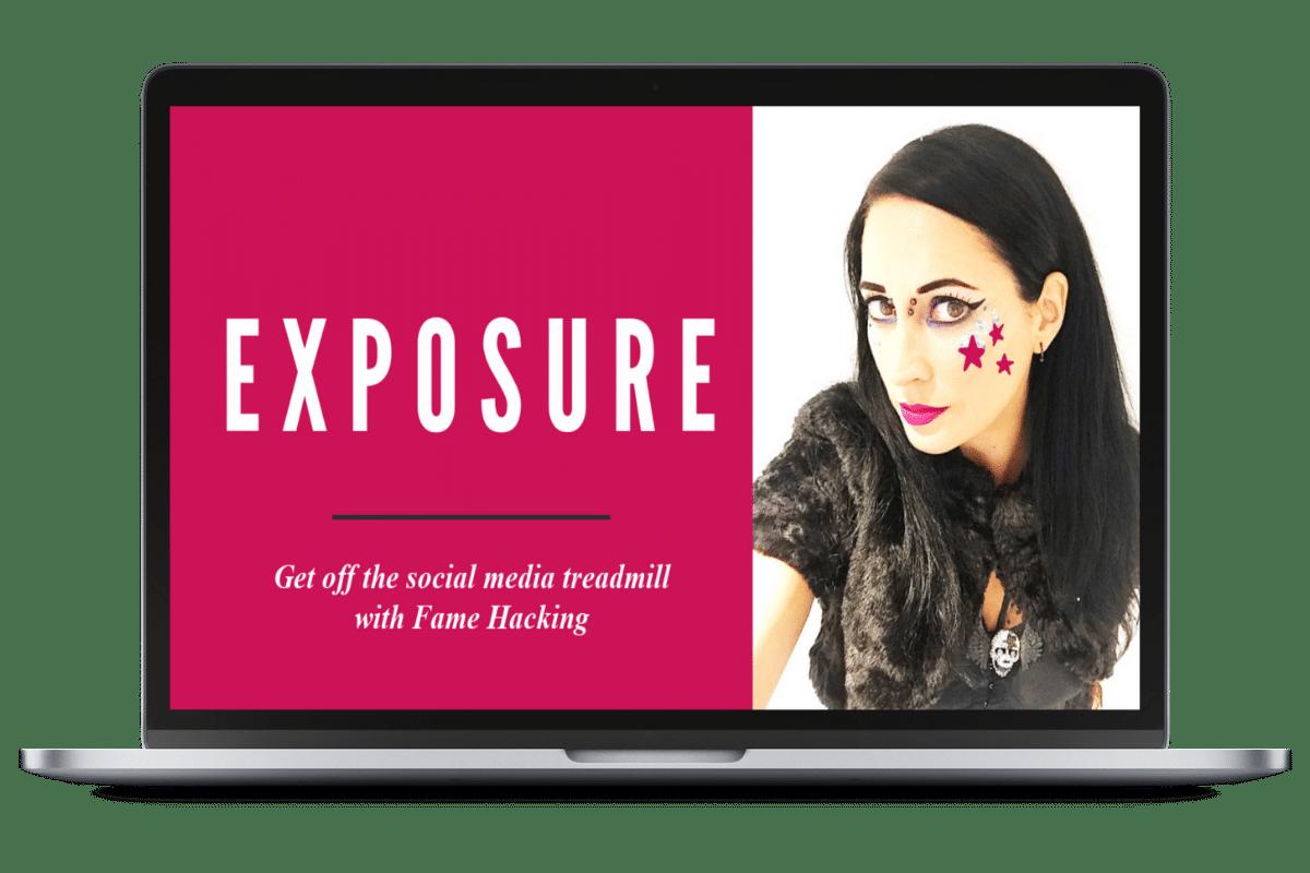 Exposure: fame hacking ecourse laptop graphic